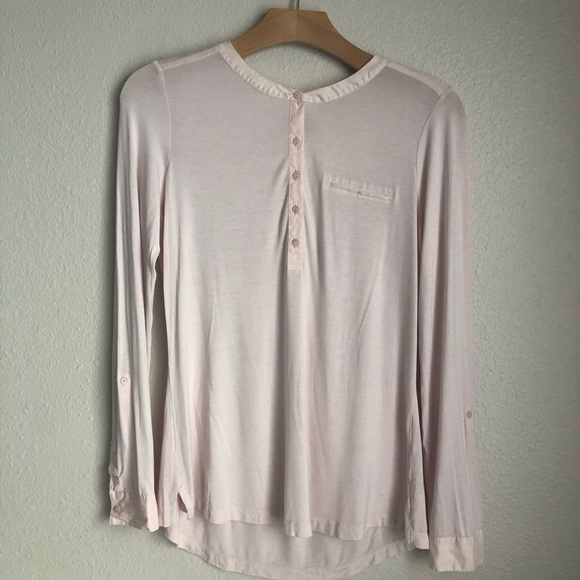 NYDJ Tops - NYDJ Pink LS Soft Trim Blouse Sz S